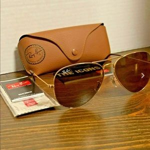 Ray-Ban RB3026 001/33 Brown Aviator Glasses 62mm